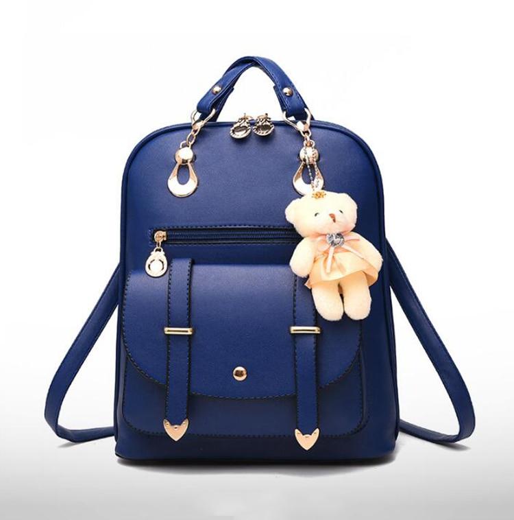 HTB1p3D4DeuSBuNjSsziq6zq8pXaW Preppy Style Women Backpack Bear Toys PU Leather Schoolbags for Teenage Girls Female Rucksack Shoulder Bag Travel Knapsack