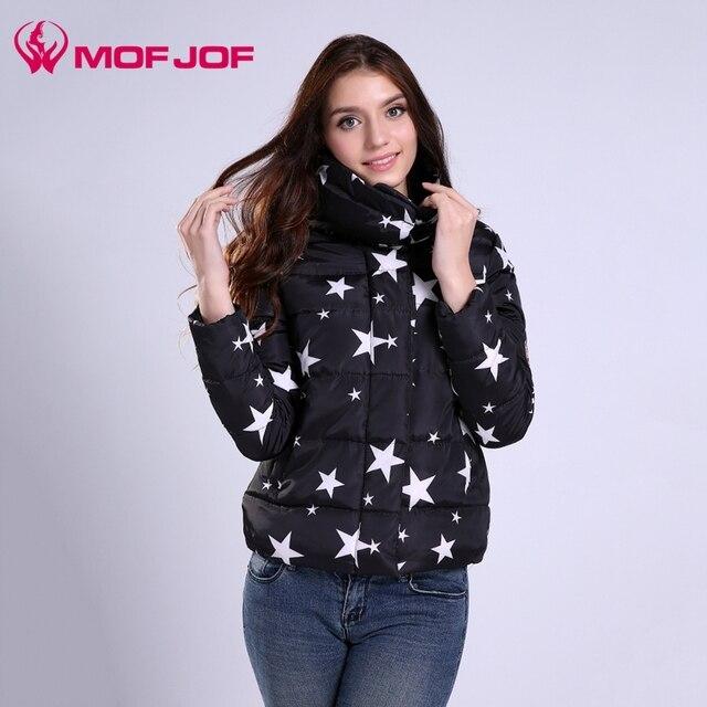 Winter Jacket Women Down Jacket Coat STAR pirnt short style High Collar Parkas For Women Winter Colors Warm Female Outwear Coats