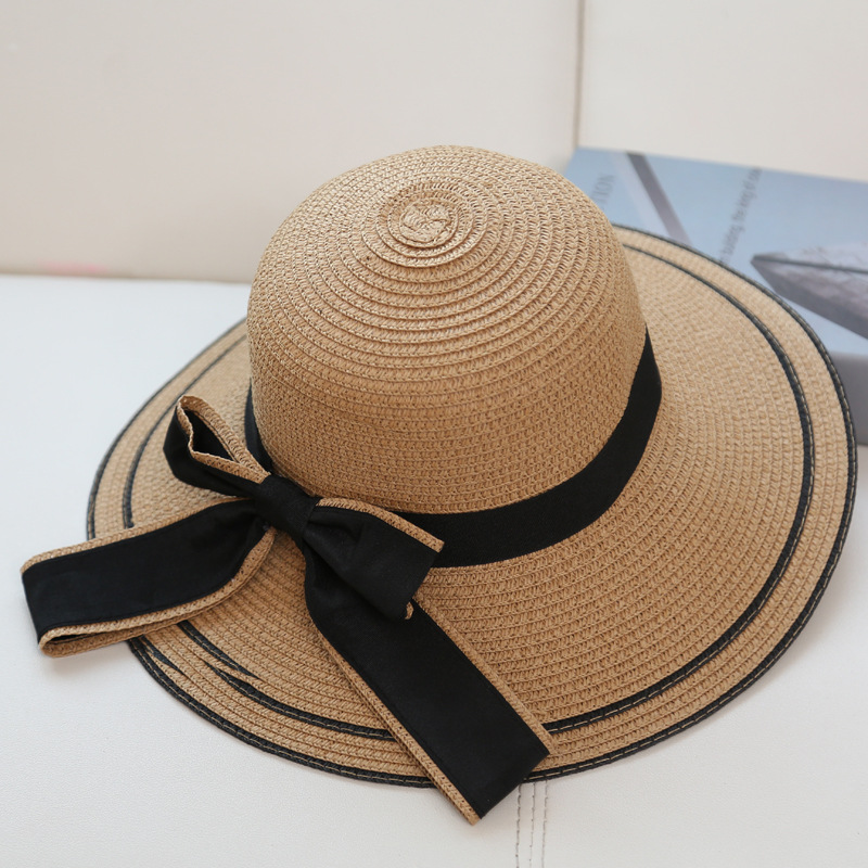 Spring and summer along the ladies straw cap color Black ribbon bow girl sunscreen beach caps sun hats free shiping sale