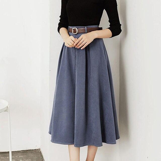 TIGENA 2019 Autumn Winter Elegant Long Skirts Women Button Belt A-line High Waist Suede Skirt Female Blue Yellow Khaki Black