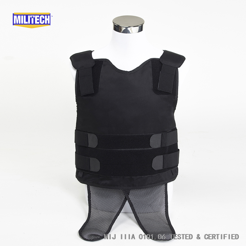 Militech Black NIJ IIIA 3A and Level 2 Stab Concealable Twaron Aramid Bulletproof Vest Covert Ballistic Bullet Proof Vest