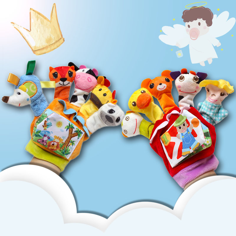 Baby Toys 0-12 Months Cartoon Animal Finger Puppet Cloth Book Loud Paper Educational Toys For Newborns Parent-child Interaction