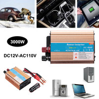 DC 12V To AC 110V Gold 3000W Car Power Inverter Pure Sine Wave Converter Household Power USB Charger Adapter Auto Accessories