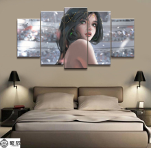 Home Decor Modular Canvas Picture 5 Piece WLOP Ghost Blade Angel Princess Anime Painting Poster Wall For Wholesale