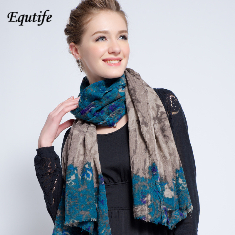Equtife New Design Wool Scarf For Women Vintage Winter Neckerchief Shawl Female Special Keep Warm Pashmina Scarves B5028