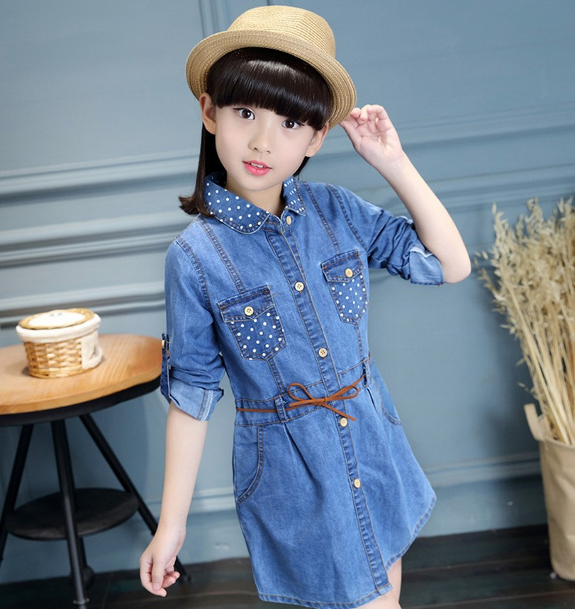 2017 Spring Girls Denim jacket Dress Children Clothing Casual Style Girl Clothes Kids Clothes for 4 5 6 7 8 9 10 11 12 13 years 2017 flower girl dress casual daily style kids dress for girls spring baby girl clothes children brand clothing fashion hot sale