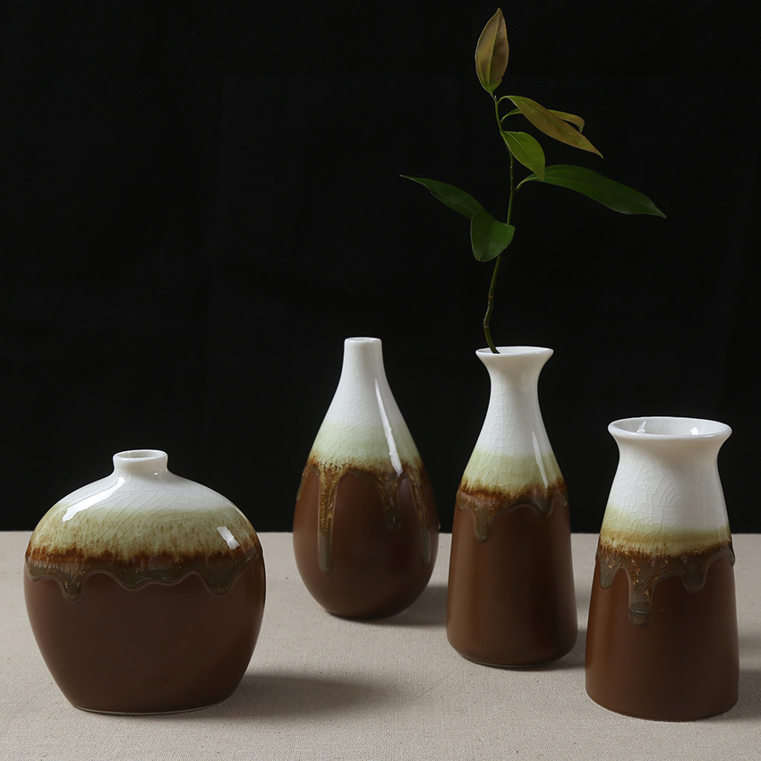 The flow of glazed ceramic vase decorated small vase set for Decoration vase