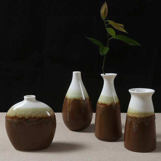 The Flow Of Glazed Ceramic Vase Decorated Small Vase Set Decoration