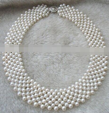 Huij 004907 Charme 5-6mm D'eau Douce Perle Artisanat Blanc Ronde Collier 16