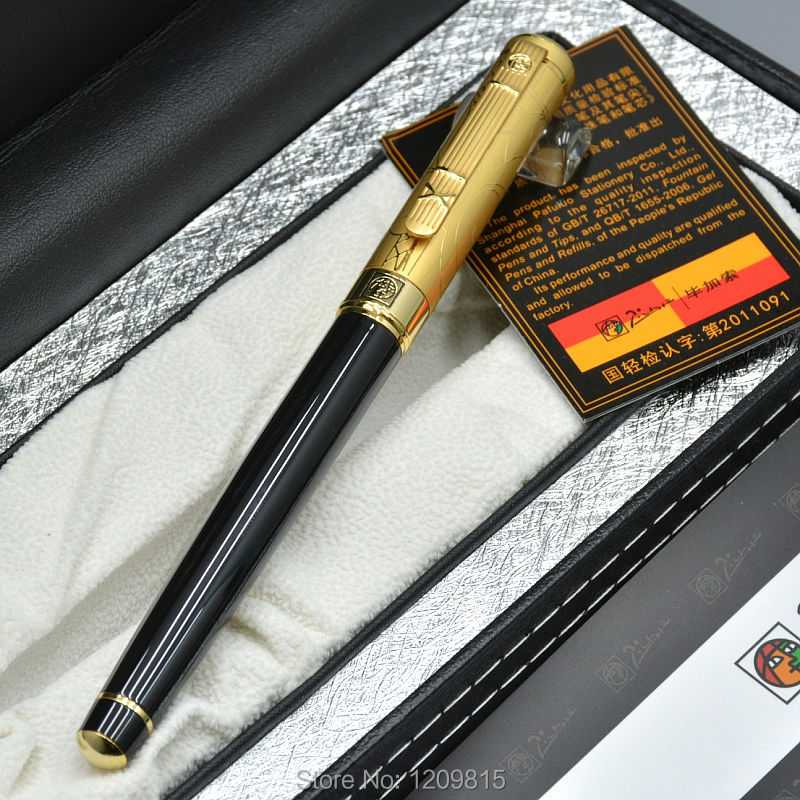 High quality Picasso brand black metal fountain pen with Gold Carving cap school office stationery Luxury writing gift ink pens jinhao fountain pen unique design high quality dragon pens luxury business gift school office supplies send father friend 002