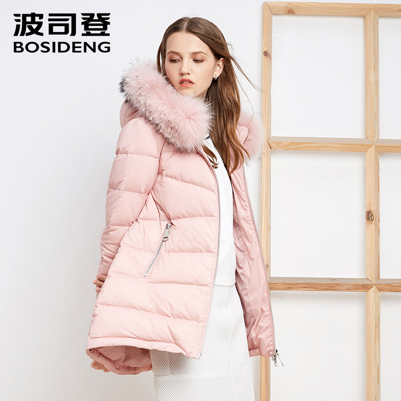 BOSIDENG women down coat mid-long duck down jacket real big real fur collar hood parka pink lady high quality B1601130