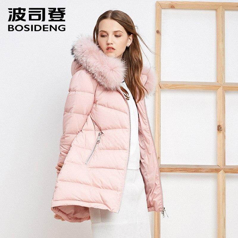 BOSIDENG women   down     coat   mid-long duck   down   jacket real big real fur collar hood parka pink lady high quality B1601130