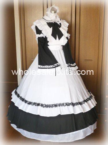 Длинное черно-белое готическое викторианское платье горничной - Цвет: white and black