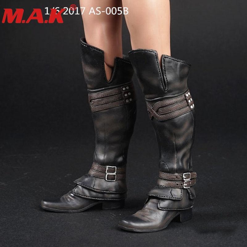 1/6 escala masculino homem figura de ação menino botas de couro longas sapatos modelo com os pés para 12