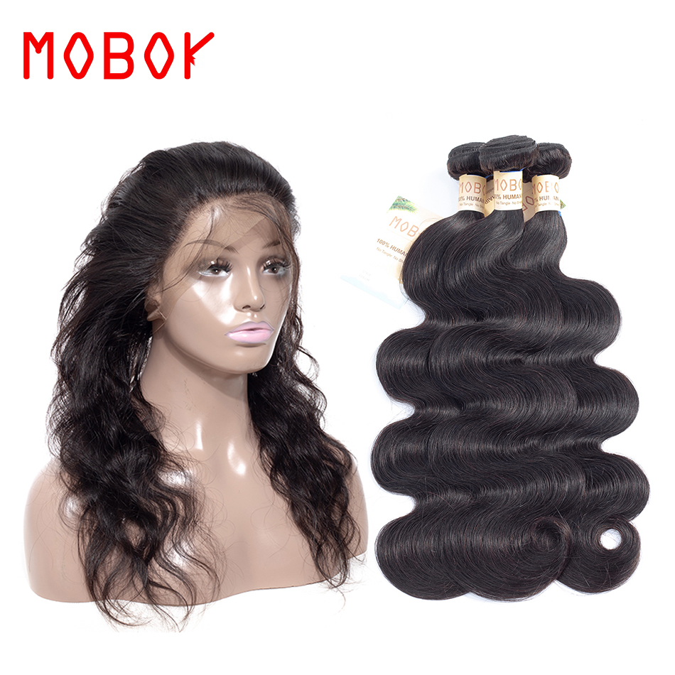 MOBOK 360 Lace Frontal 130% Destiny With Bundles Malaysia Body Wave Non Remy Human Hair Weave 2/3 Bundles With 360 Lace Frontal