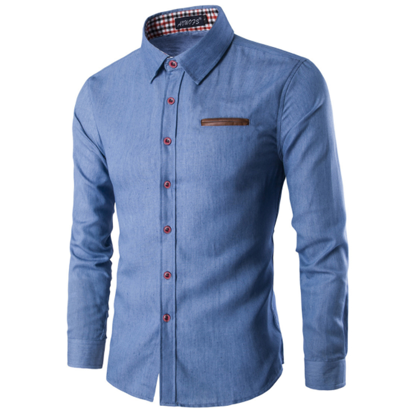 2019 New Fashion Brand Men Shirt Pocket Fight Leather Dress Shirt Long Sleeve Slim Fit Camisa Masculina Casual Male Shirts Model in Dress Shirts from Men 39 s Clothing