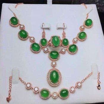 Koraba 4pcs 925 Sterling Silver Inlaid Natural Green Rose Gold Jade Chalcedony  Pendant Necklace Bracelet Earrings Set