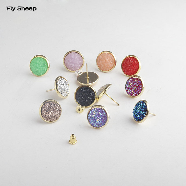 Multi Ort Colors 12mm Druzy Stud Earrings Faux Resin Crystal On Drusy Jewelry For Lady