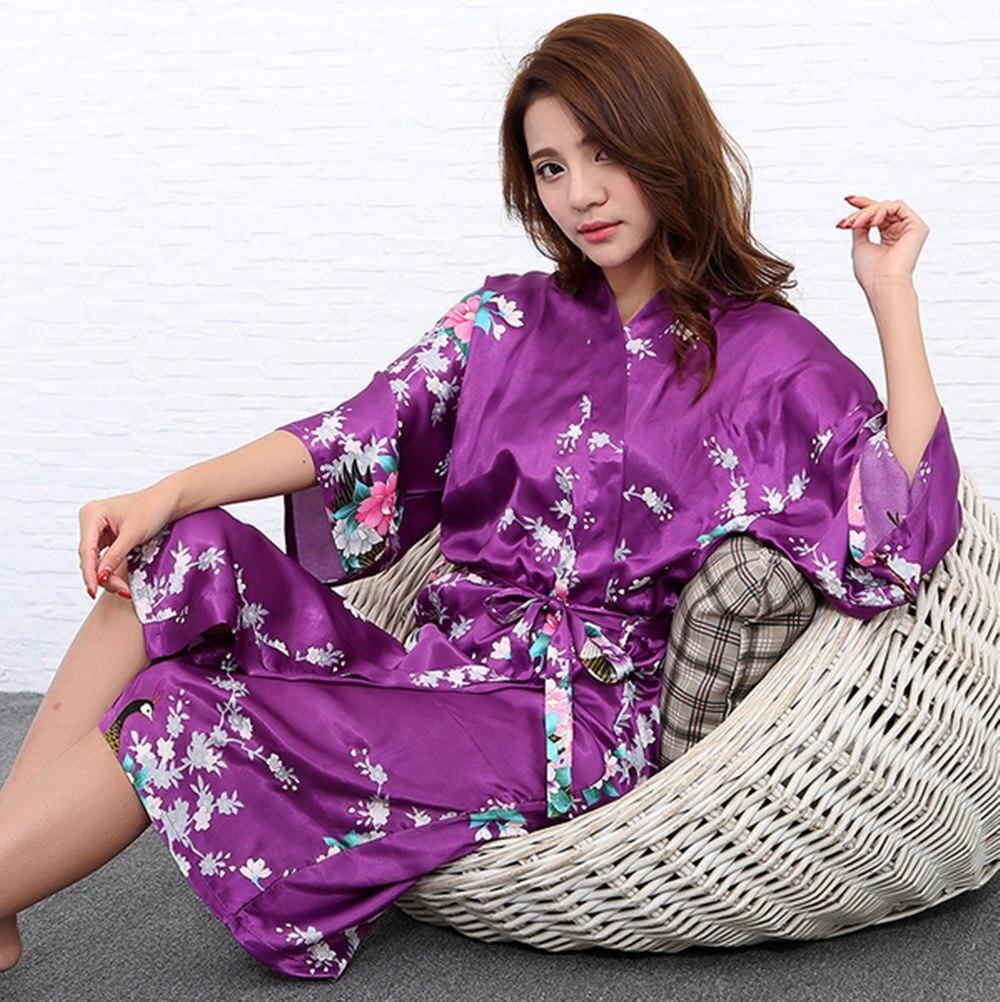 H1686 Seide Bademantel Frauen Satin Kimono Roben Für Frauen Floral ...