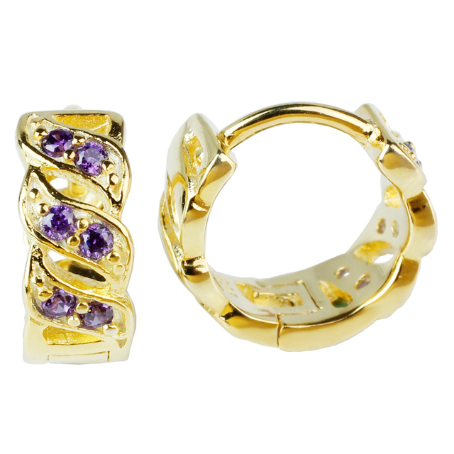 3-line Clear CZ Paved Gold Finish 925 Sterling Silver Clip Earrings for women Purple Amethyst Best Gift for Mother E058