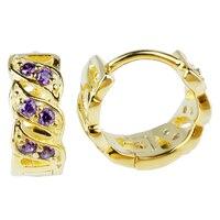 3-line סלול CZ נקה צבע זהב 925 עגילי קליפ כסף סטרלינג לנשים הסגול CZ מתנה הטובה ביותר עבור אמא E058