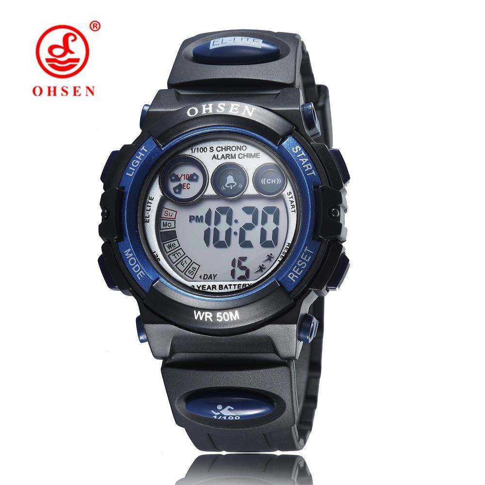 Montre Enfant OHSEN Fashion Digital Watch Kids Children 50m Swim Sports Watch LED Rubber Strap Boys Girls Military Wristwatch