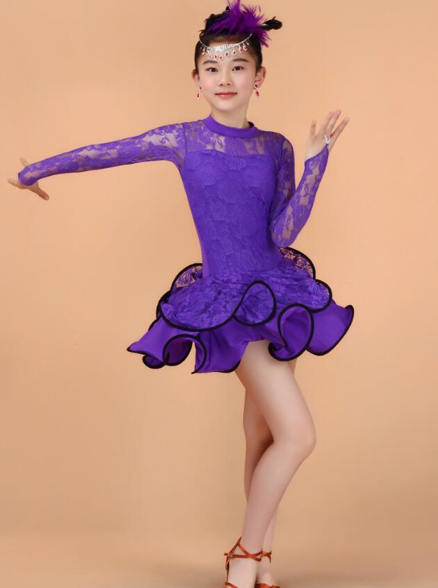 Кружевное платье с длинными рукавами для девочек, одежда для латинских танцев, стандартное детское платье для латинских танцев, детские костюмы для сальсы, бальных танцев - Цвет: Фиолетовый
