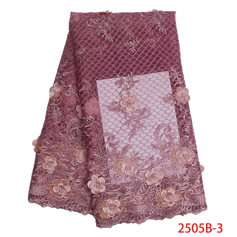 2019 New Style 3D Flower African Tulle Mesh Lace Fabric High Quality French Applique Net Embroidered Tulle With Beads KS2505B-3