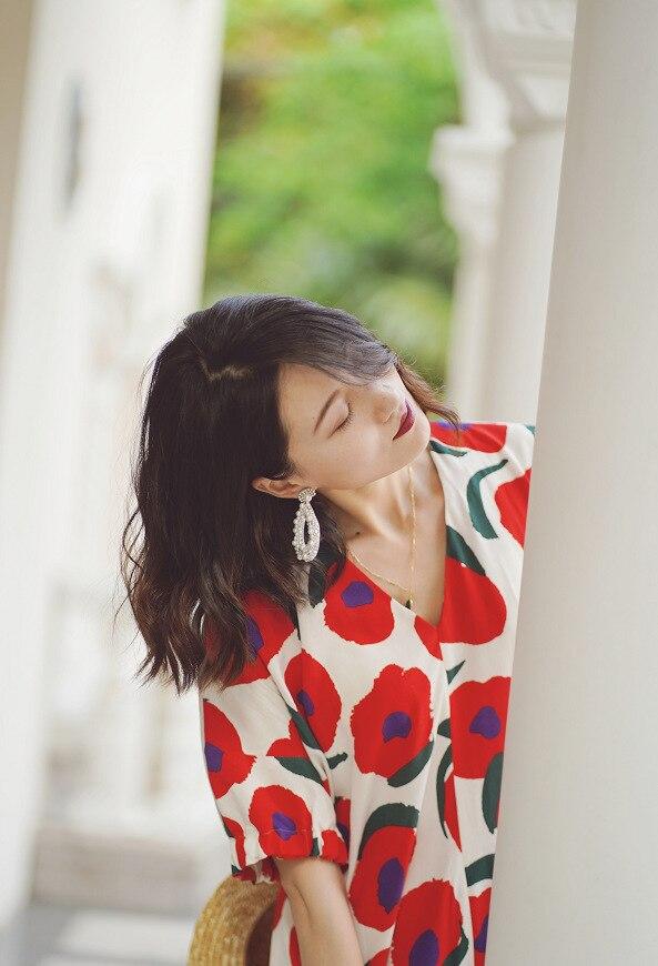 Vestido largo suelto con estampado de flores para mujer 2019 nuevo verano manga corta cuello pico dulce Midi-in Vestidos from Ropa de mujer    3