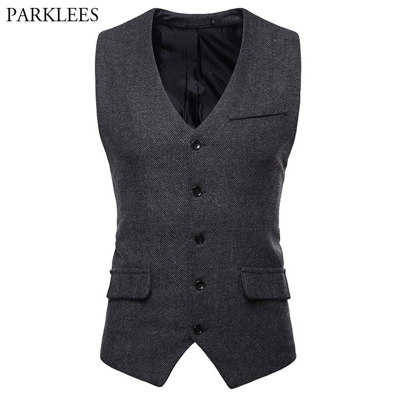 Fashion Herringbone Tweed Vest Men Gilet Costume Homme Business Casual Sleeveless Vest Waistcoat Men Wedding Tuxedo Vest Male