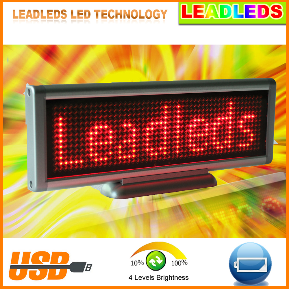 New USB LED Display Screen LED Sign Programmable Moving Message Module Board Red Color High Bright Led Light For Car Advertising high 8 5 inch red led desktop display board portable rechargeable usb programmable moving message store led business sign board