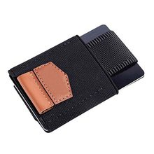 Men Women Small Minimalist Business Card Holder Elastic Belt Fixed Credit Cardholder Porte Carte Money Wallet Purse(China)