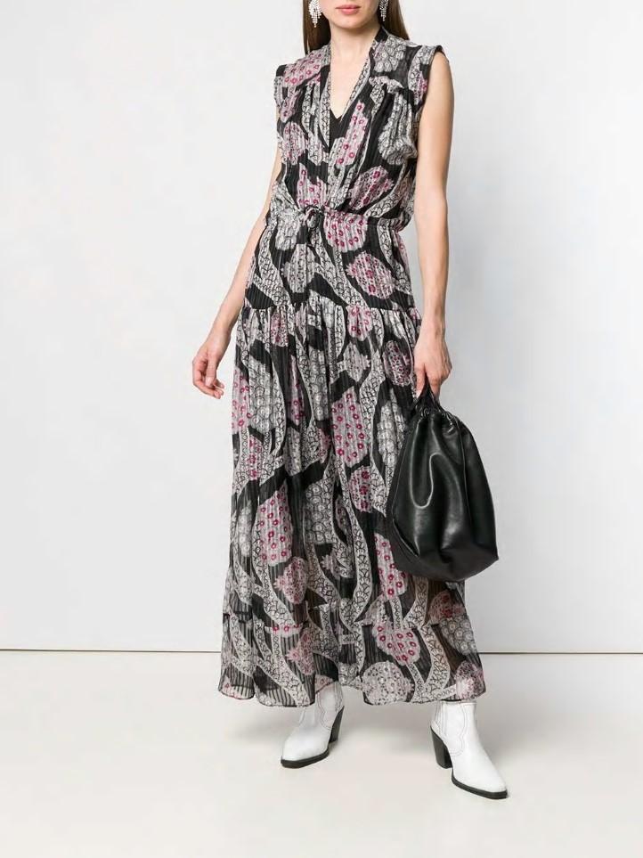 Paisley printed DRESS Long silk Cotton MIDI dress V neck Drawstring waist tied Sleeveless 2019ss