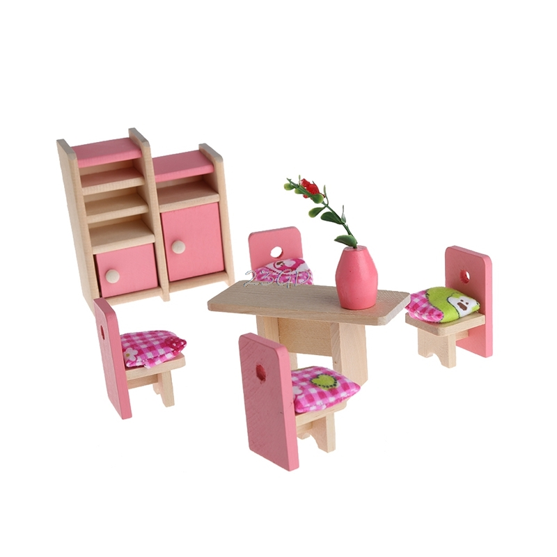 2017 Preety Kid Wooden Furniture House Miniature 5 Room Set For Christmas Gifts Dinning set MAY4_35