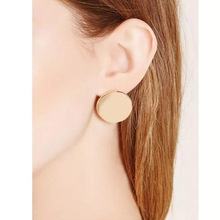 E0127 New Arrival Round Stud Earrings For Women Gold Color Big Stud Earrings Simple Geometric Design Fashion Jewelry For Party