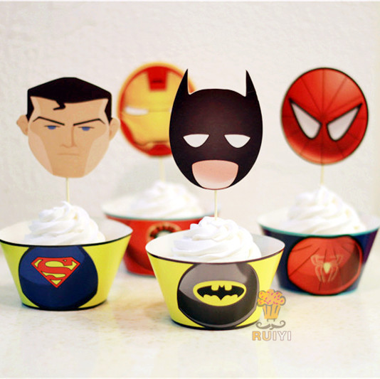 24pcs Avengers Iron Man Spider man super man batman cupcake wrappers kid party favors cake toppers cupcake cases liner AW-0051