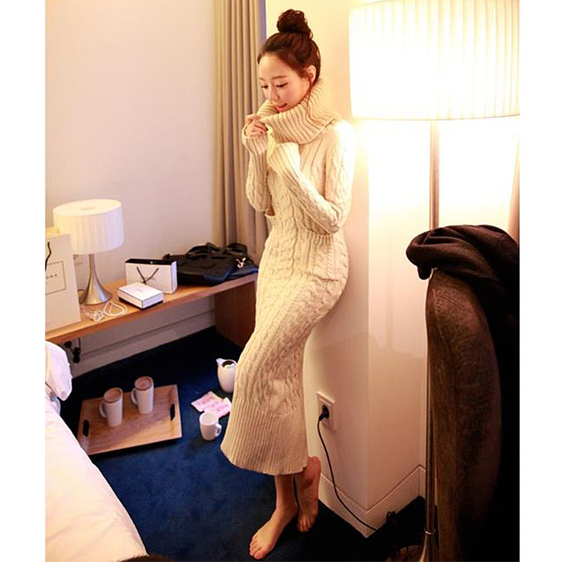 2019 New Fashion Christmas Sweater Winter Women's High-Necked Long Paragraph Twist Sweater Dress Thick Slim Knitted Dress Skirt