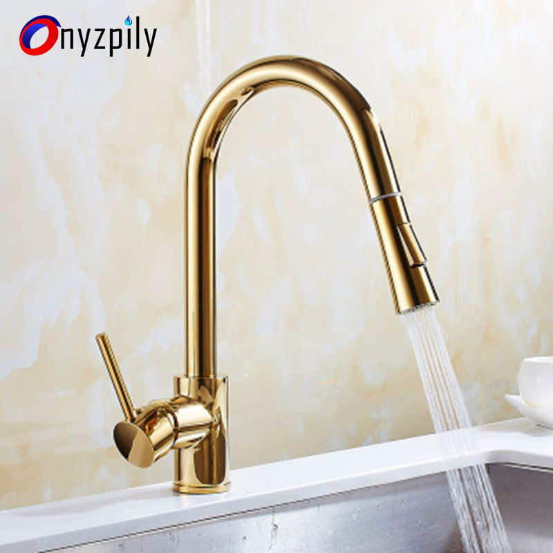 Kitchen sink faucet Golden pumping faucet Rotary kitchen faucet sink dishpan cold and hot faucet