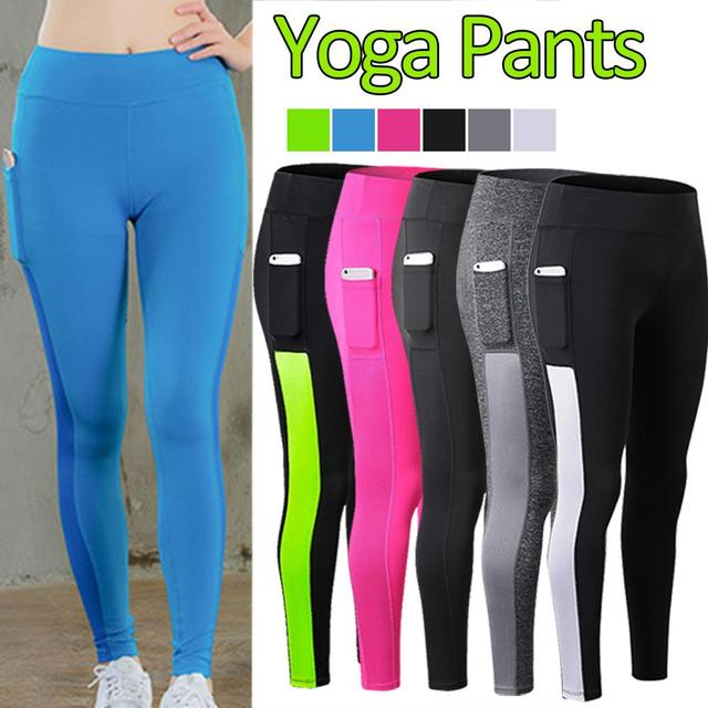 6eba5e2f1b270 Women High Waist Yoga Pants With Side Pocket Solid Mesh Patchwork  Breathable Sport Leggings Push Up Hips Fitness Legging Tights