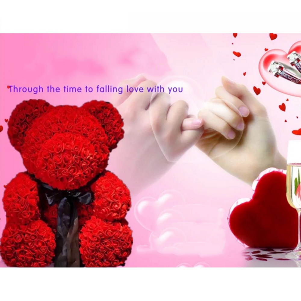 Strong-Willed 25cm Bear Of Roses Flowers Teddy Bear With Crown Wedding Festival Diy Surprise Wedding Gift For Girl Lover Artificial & Dried Flowers Festive & Party Supplies