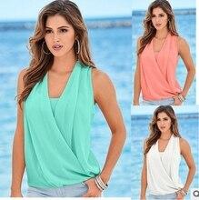 Summer 2017 Brand Sexy Top Female T-shirt V Neck Sleeveless Patchwork Shirt Women Cotton Plus Size Clothing