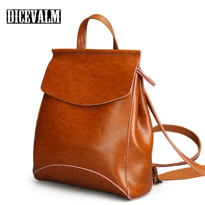 Fashion Design Backpack Female Leather Genuine Travel Bags School Bags For Teenage Girls Mochila Feminina Back Pack Lady'S Bag