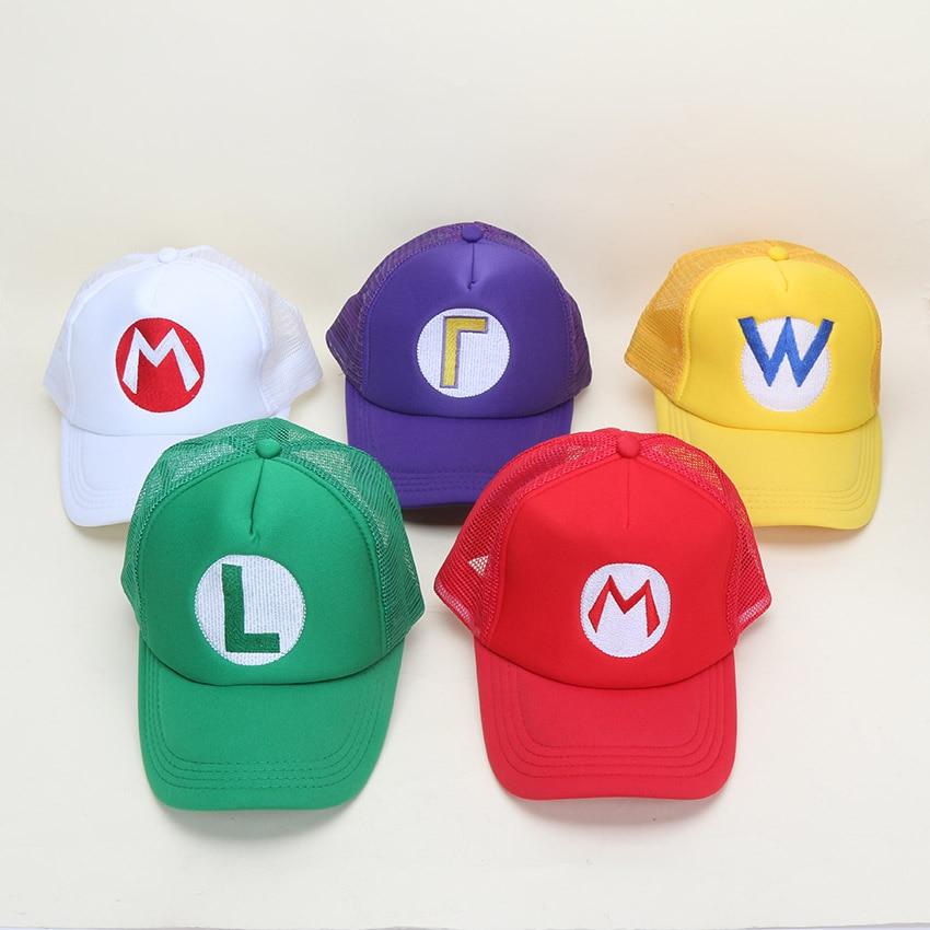 Game Super Mario Bros Hat Mario Luigi Yoshi Adjustable Buckle Baseball Cap Sun Snapback Hats