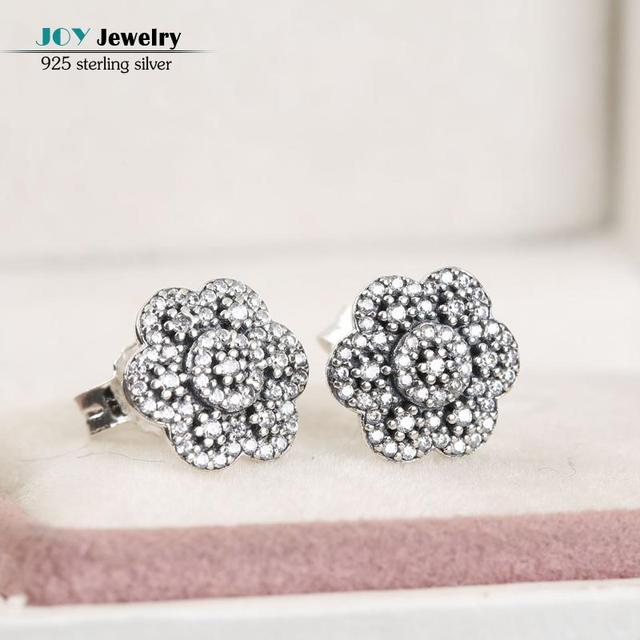 2016 Winter New 925-Silver-Jewelry Crystallised  Floral Stud Earrings For Women Wedding Engagement Jewelry Accessories brincos