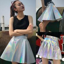 купить Women Pu Leather Short Skirts Ladies Casual Cheerleader High Waist Mini Skater Skirt Female Holographic Hologram Skirts онлайн