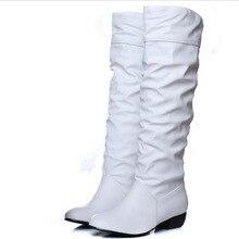 Plus la taille 43 mode nouvelle arrivée Hiver Mi-mollet Femmes Bottes Noir Blanc Brun appartements talons moitié bottes automne neige chaussures