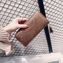 Купить с кэшбэком ONEFULL NEW FASHION Women wallets Ladies hand coin purse brand simplicity floral tassel wallet women zipper coin pocket