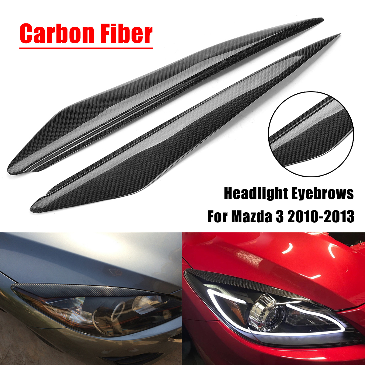 1Pair Carbon Fiber Headlight Eyebrows Cover Eyelids Trim for Mazda 3 2010 2013 Car Styling for Front Headlamp