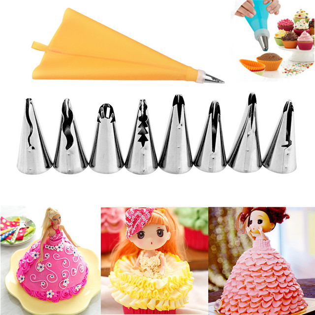 10 pz/set Accessori Da Cucina In Silicone Icing Piping Crema Pasticcera Bag + Ug