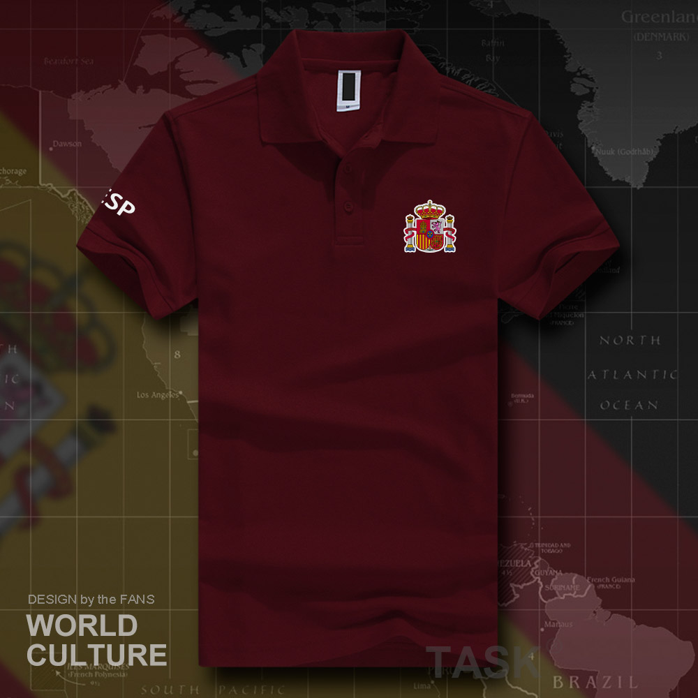 Kingdom of Spain ESP   polo   shirts men short sleeve white brands printed for country 2018 cotton nation emblem new fashion